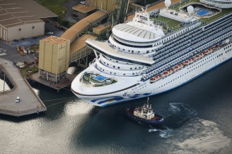 The Ruby Princess was berthed at Port Kembla last month.