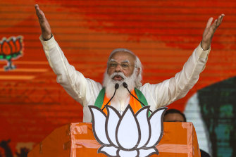 Indian Prime Minister Narendra Modi addresses a public rally ahead of West Bengal state elections in March.