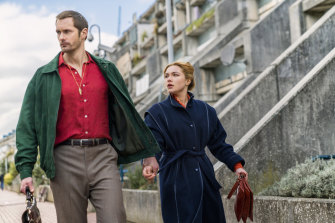 Alexander Skarsgård as Becker, Florence Pugh as Charlie Ross in The Little Drummer Girl.