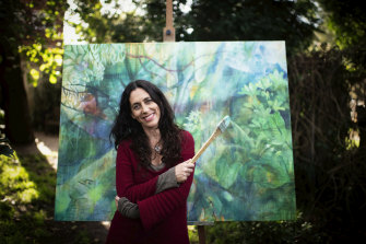 """Artist Gabbi Lancaster runs a weekly online adult art course, on """"intuitive painting""""."""