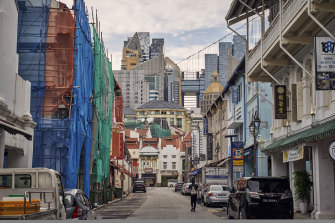 A deserted street in the Chinatown area of Singapore, on Tuesday.