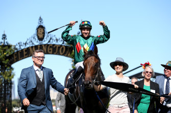 Ryan Maloney aboard Alligator Blood following his Australian Guineas win.