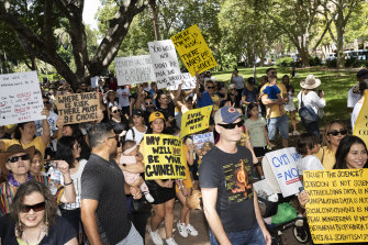 Protestors at an anti-vaccination rally in Sydney on Saturday.