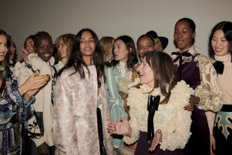 Nicky Zimmermann with models backstage at the Zimmermann presentation at New York Fashion Week.