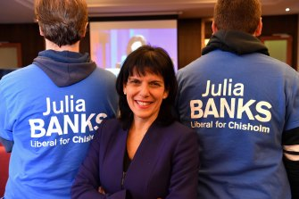 Julia Banks after her upset win in the 2016 federal election.