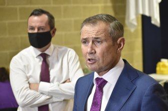 Health Minister Roger Cook and Premier Mark McGowan at a vaccination announcement on Wednesday.