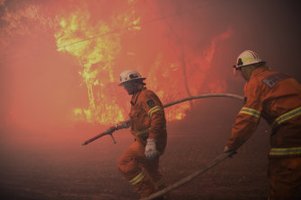 NSW RFS scrambling to protect properties.