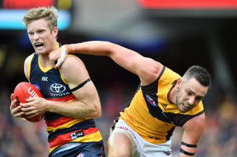 Alex Keath (left) in action for the Crows.