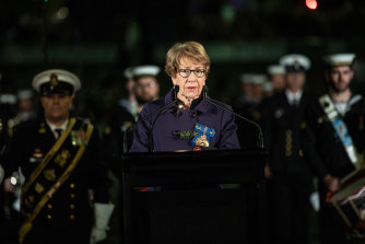 The Governor, Margaret Beazley, looks on at the ANZAC Day dawn service in Martin Place.