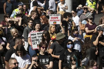 Protesters gather for a rally against ongoing Indigenous deaths in custody in Sydney.
