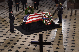 The casket of late Supreme Court Justice Ruth Bader Ginsburg lies in state at the US Capitol.