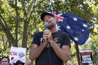 Pete Evans at the anti-vaccination rally in Sydney