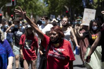 David Dungay Jr's mother, Leetona, leads a Black Lives Matter rally in Sydney in December 2020.