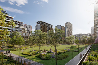 An impression of the Melrose Park development in north-west Sydney.