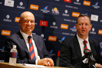 Former CEO Peter Jackson (left) with Melbourne chairman Glen Bartlett.