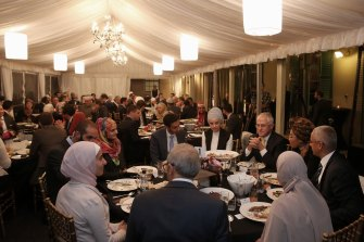 Bachar Houli and Waleed Aly at an iftar dinner with then PM Malcolm Turnbull.