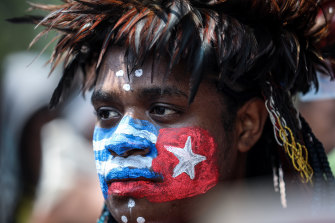 A Papuan student attends a pro-independence rally in Jakarta in August.