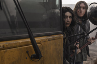 Alexa Mansour as Hope and Australian Hal Cumpston as Silas in The Walking Dead: The World Beyond.