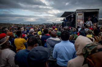 Former president Jacob Zuma addresses his supporters outside his home in Nkandla.