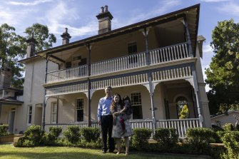 Albert and Eva Lim with their daughter Eliza at their home in Killara, which was once the home of the author Ethel Turner.