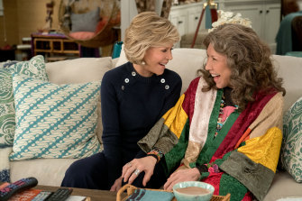 Jane Fonda and Lily Tomlin in season five of Grace and Frankie on Netflix.