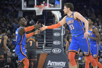Dennis Schroder (left) starred for Oklahoma City in their win over Orlando.
