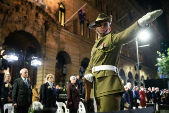 The guard of honour at the ANZAC Day Dawn Service.