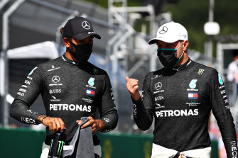 Lewis Hamilton (left) and Valtteri Bottas will start on the front row for the first F1 race of the season in Austria.