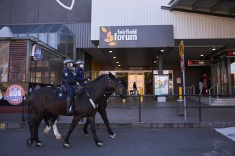 Mounted Police patrolled Fairfield streets on Saturday following the NSW government's tightening of pandemic restrictions.