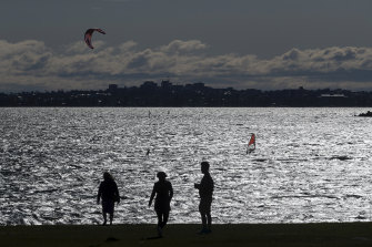Strong winds blow across Botany Bay on Saturday.