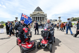 Ron Trevor (left) and Jim Gresty at the Shrine of Remembrance on Monday morning.