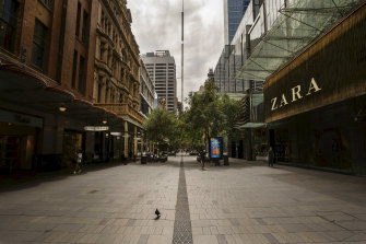 Pitt Street Mall in Sydney's central business district, where shops are shut during the current lockdown.