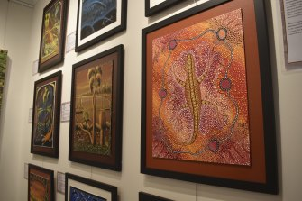 FISH artists are currently exhibiting in the gallery space at Local and Aesthetic. These works by Casuarina prisoners.