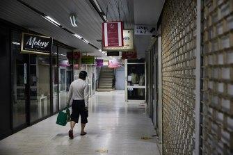 An empty shopping strip in Sydney's Blacktown.