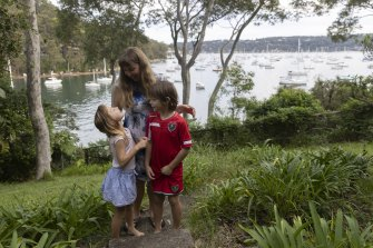 Rachel Verity with her twins Grace and Harrison at their Clareville home.