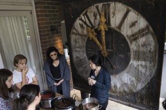 Gene Sherman at a fashion class for kids taught by artist Sairi Yoshizawa at the SCCI Pavilion Centennial Park.