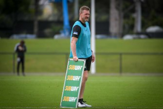 Nathan Buckley oversees Collingwood training on Monday.