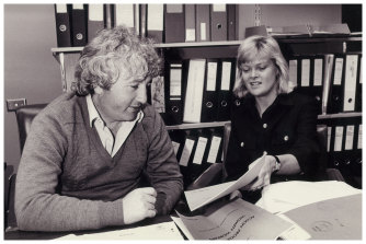 Bill Kelty and Iola Mathews launching the Action Program for Women Workers in October 1984.
