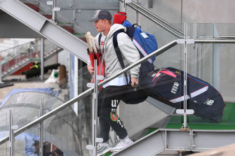 England player Ollie Pope leaves the ground.