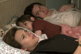 Scarlett Johansson, Azhy Robertson and Adam Driver play the fracturing family in Marriage Story.