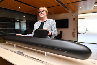 Defence Minister Linda Reynolds during a visit to Naval Group in Adelaide last year. Tensions between Australia and the company have been building in recent weeks over the $90 billion submarine project.