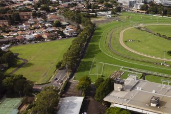 An aerial view of the parking area (left) next to Canterbury Park Racecourse.