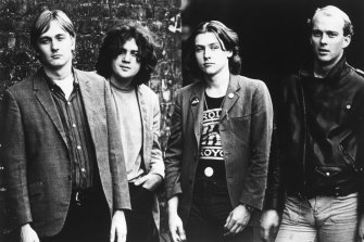 Ed Kuepper, left, with fellow members of the Saints, circa 1977.