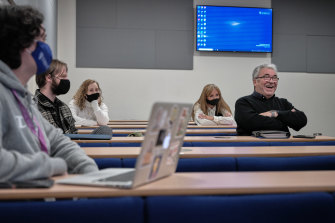 Students during a class in the Beatles course at the University of Liverpool, in England.