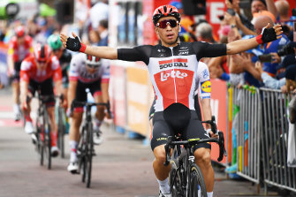 Australian Lotto-Soudal rider Caleb Ewan wins stage four of the Tour Down Under on Friday.