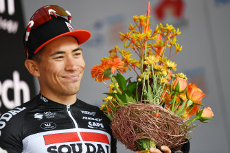 Caleb Ewan claims stage two of the Tour Down Under.