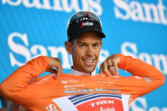 Richie Porte on the podium after winning stage three of the Tour Down Under.