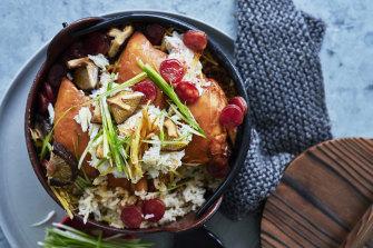 Claypot crab and chicken rice.