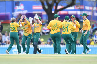 South African players celebrate the dismissal of Alyssa Healy.