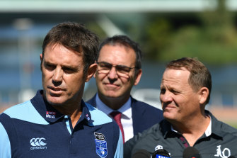 Freddy Fittler helps launch Origin I in Adelaide last month with Queensland counterpart Kevin Walters and SA Premier Steven Marshall.